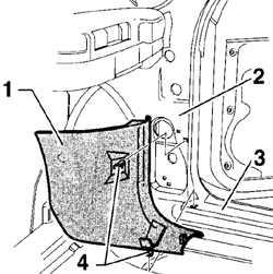 13.22 Снятие и установка боковой обшивки пространства для ног