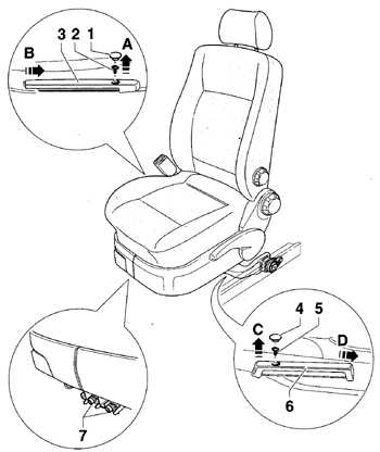 13.28 Снятие и установка переднего сиденья Volkswagen Golf IV