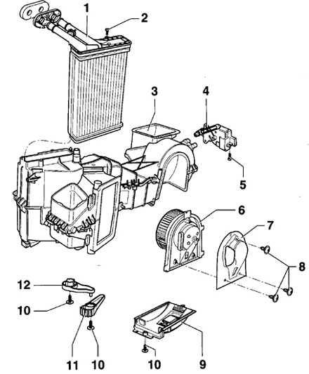 6.3 Снятие и установка вентилятора отопителя и дополнительного резистора