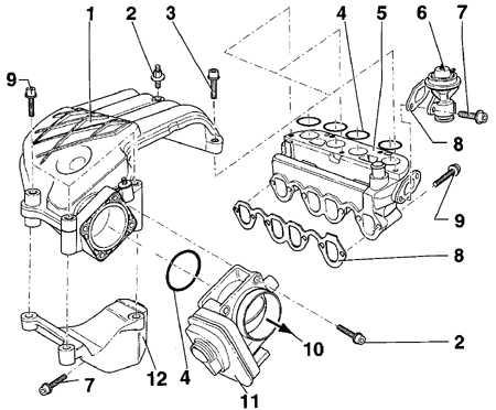 2.2.5 Снятие и установка впускного коллектора дизельного   двигателя SDI