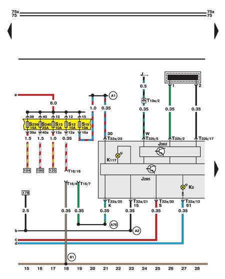 14.35.6 Диагностический разъем, лампы генератора и комбинации приборов