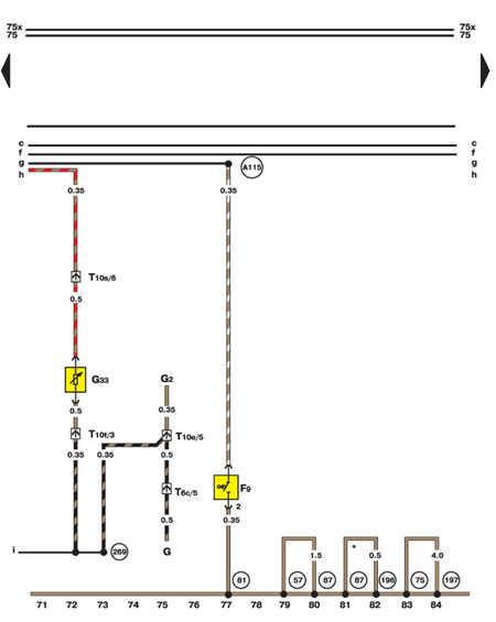 14.35.10 Лампа ручного тормоза и датчик уровня жидкости стеклоомывателя