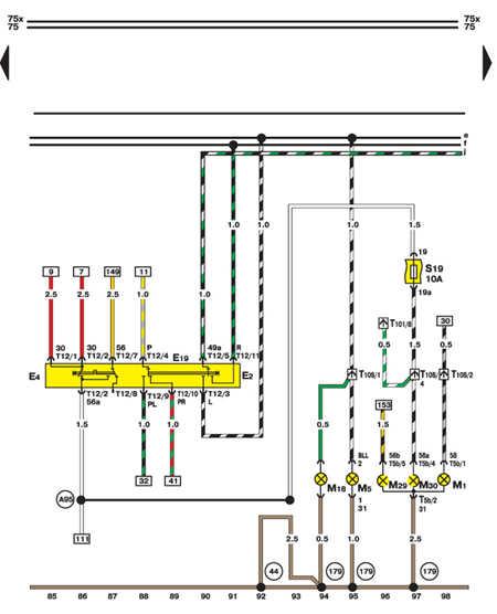 14.35.11 Переключатель поворотов, световой сигнализации (левая сторона)
