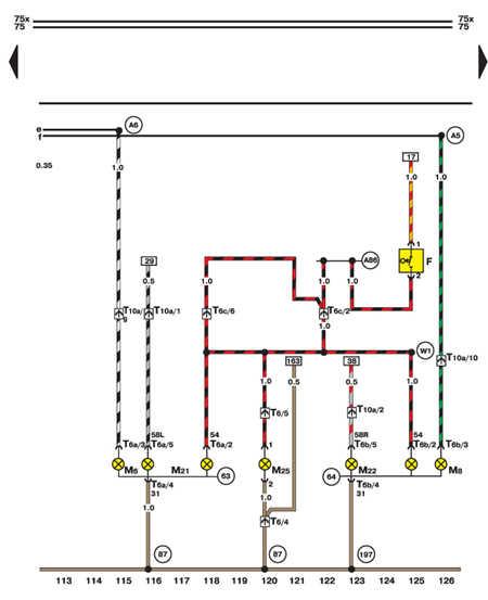 14.35.13 Выключатель стоп-сигнала, стоп-сигналы и задние повороты