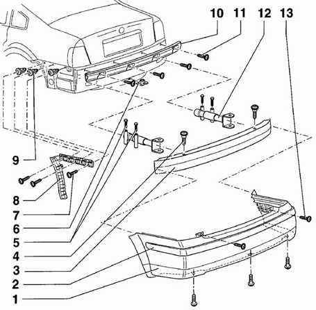12.10 Задний бампер Volkswagen Passat B5