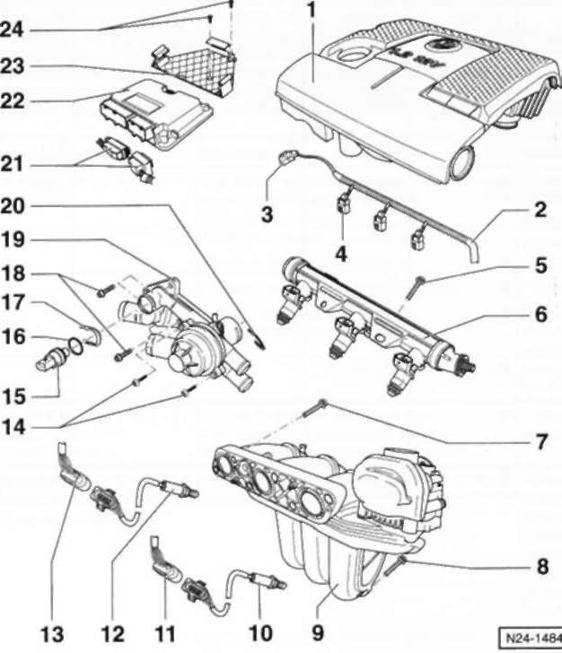 10.6 Впускной коллектор/топливный коллектор/ клапанные форсунки Volkswagen Polo