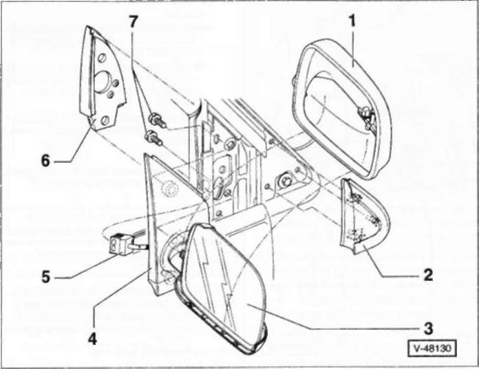 16.34.1 и установка наружного зеркала заднего вида (с электроприводом)/стекла зеркала. POLO