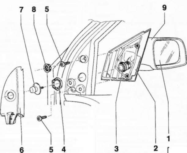16.35.1 и установка наружного зеркала заднего вида (с ручным приводом)/стекла зеркала. POLO