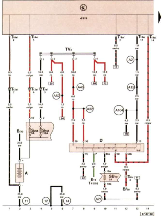 17.2.4 Аккумуляторная батарея, выключатель зажигания и стартера, предохранители в держателе предохранителей аккумуляторной батареи