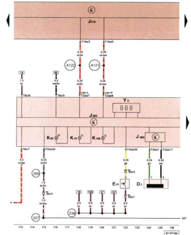 17.2.12 Блок управления с блоком показывающих приборов в щитке приборов, считывающая катушка противоугонной системы, выключатель системы пристегивания ремнем со стороны водителя, блок управления противоугонной системы