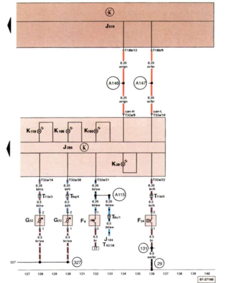 17.2.13 Выключатель сигнализатора ручного тормоза, сигнальный контакт уровня тормозной жидкости, датчик указателя низкого уровня охлаждающей жидкости, датчик указателя низкого уровня жидкости для омывания стекол