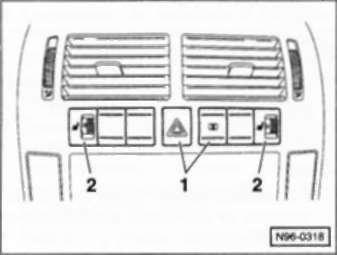 4.55.6 выключатели радио/узла управления системой отопления на консоли.Снятие