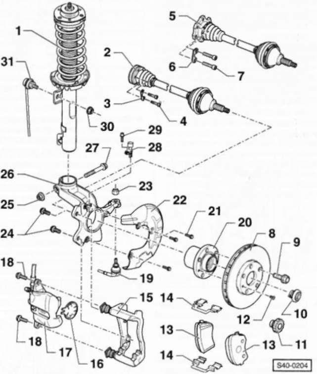 5.2 Подвеска передних колес Volkswagen Polo