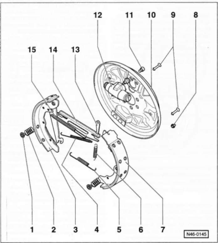 6.6 Задний барабанный тормозной механизм Volkswagen Polo