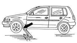 1.5 Указания по использованию автомобильного домкрата и других приспособлений при поднятии автомобиля