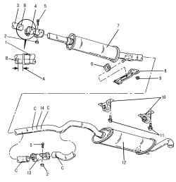 2.8.3 Снятие и установка системы выпуска ОГ Volkswagen Polo